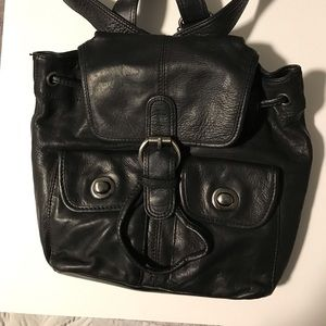Kennth Cole black leather backpack